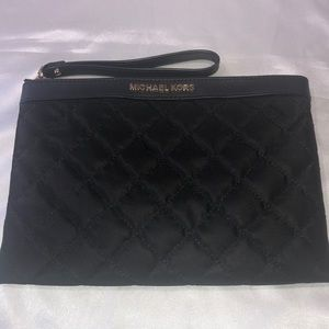 Michael Kors Black Nylon Quilted Wristlet Wallet
